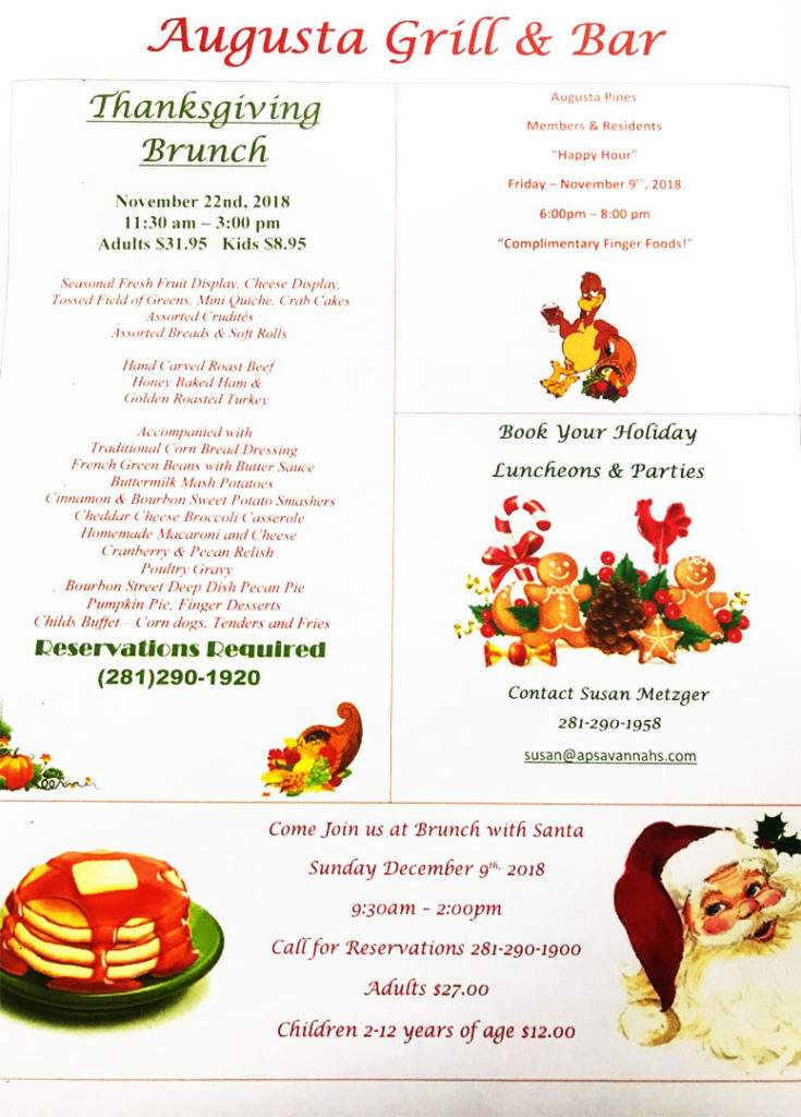 augusta grill & bar holiday specials