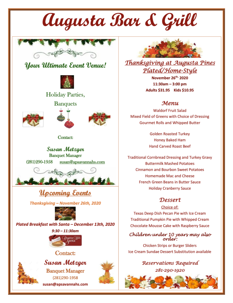Augusta Bar and Grill Holiday Specials
